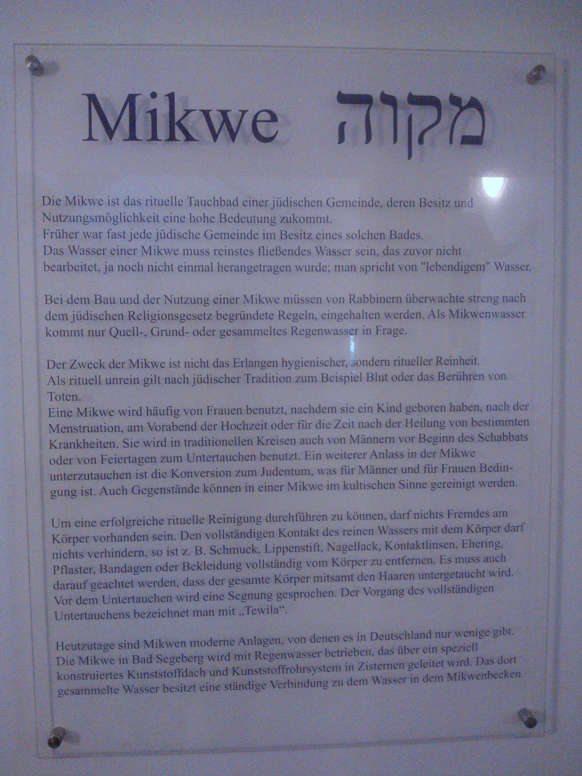 Mikwe in Bad Segeberg